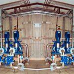 Porsgrunn kommunale vannverk. Rør og pumpemontasje.